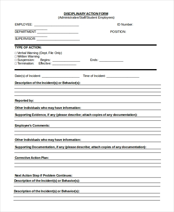 Sample Employee Discipline Form 10 Examples in PDF Word – Disciplinary Action Form