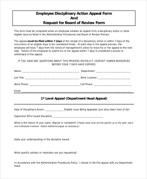 sample employee discipline form