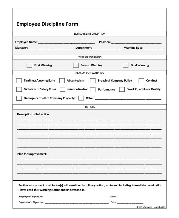 Sample Employee Discipline Form 10 Examples in PDF Word – Employee Details Form Sample