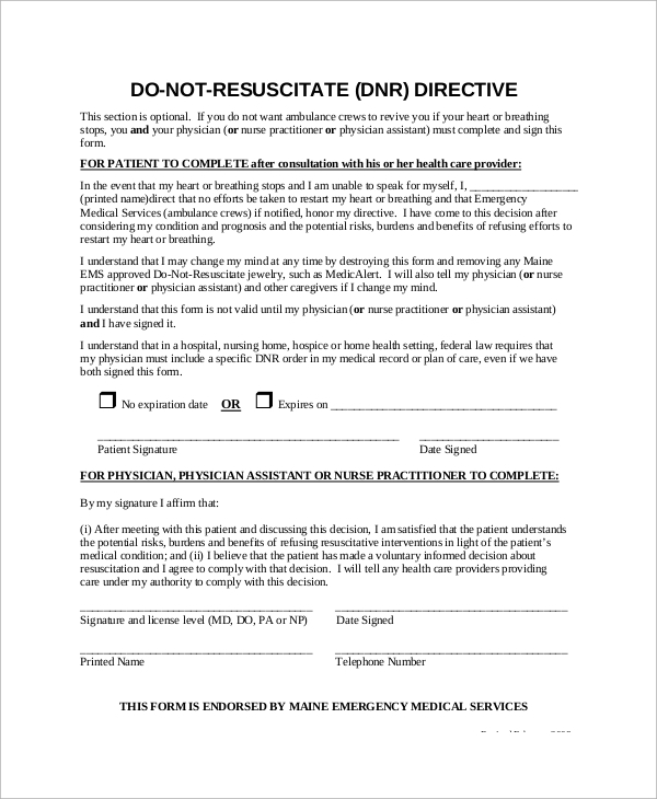 Sample Do Not Resuscitate Form   Examples In Word Pdf