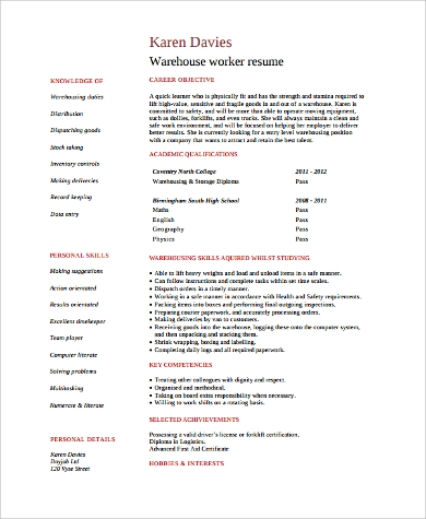 Sample Warehouse Worker Resume 9 Examples In Word Pdf