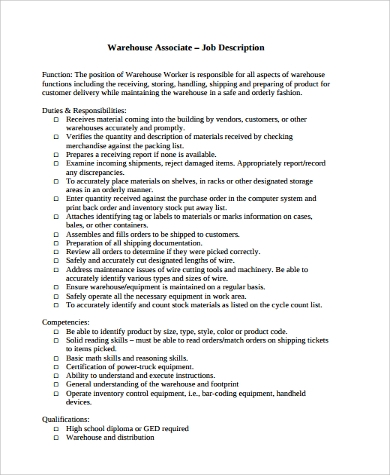 Awesome Warehouse Worker Job Description For Resume