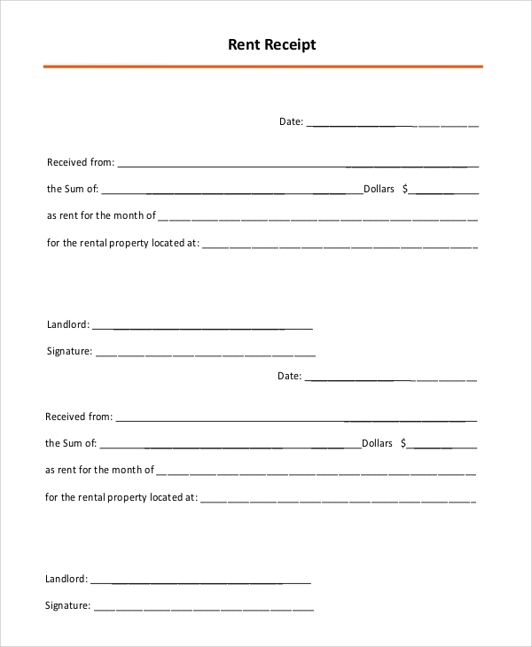 Sample Rental Receipt 10 Examples in PDF Word – Monthly Rent Receipt Format