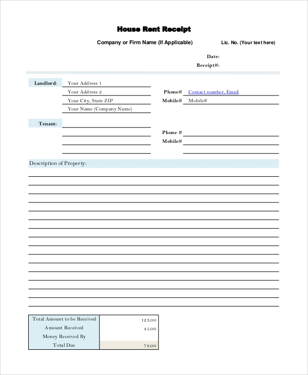 Sample Rental Receipt 10 Examples in PDF Word – House Rental Receipt