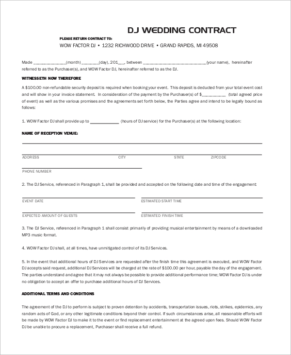 Sample Dj Contract   Examples In Word Pdf