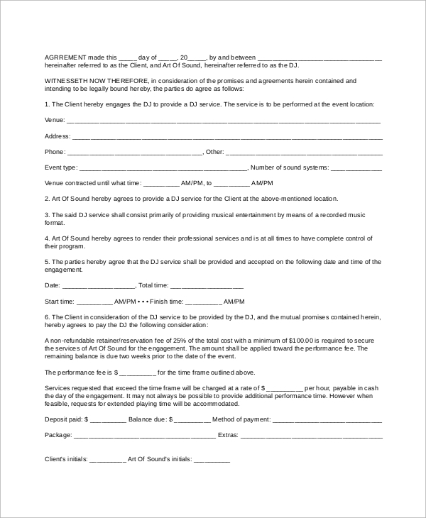 mobile dj contract template 10 dj contract samples sample templates