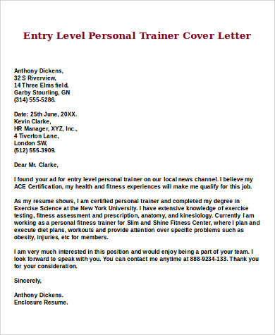 entry level personal trainer cover letter - Sample Entry Level Cover Letter