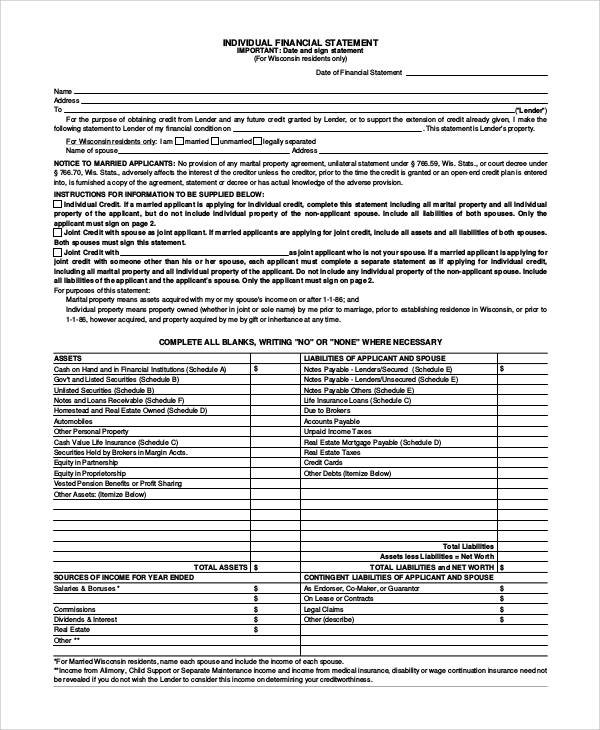 individual financial statement form