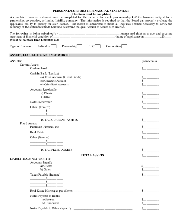 corporate financial statement form
