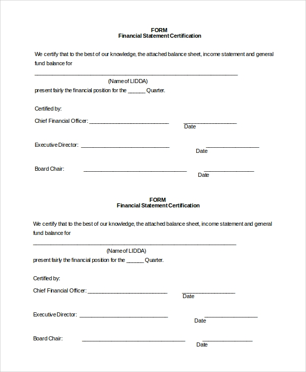 10+ Sample Financial Statement Forms | Sample Templates