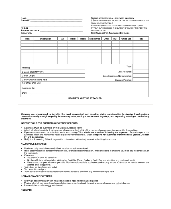 Sample Expense Report Form 10 Examples in PDF – Sample Expense Form
