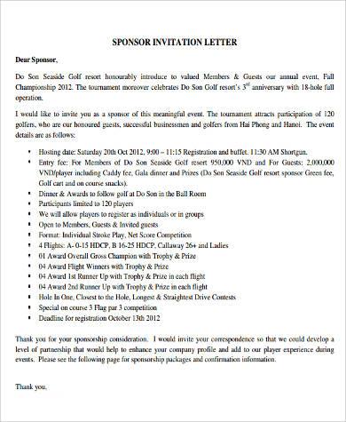 9 Sample Sponsorship Letters Sample Templates