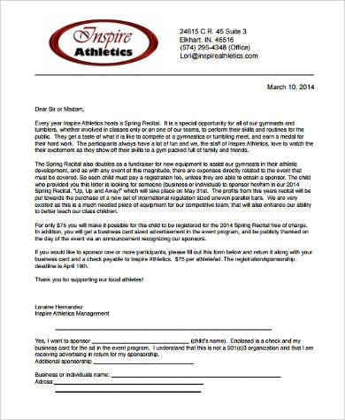 sponsorship letter for athletes