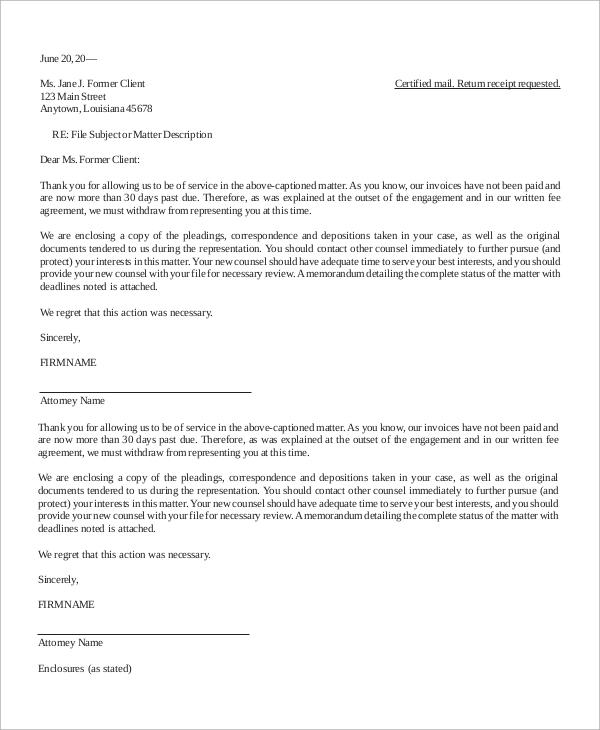 termination of representation letter