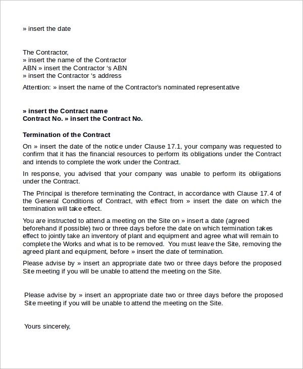 construction contract termination letter letter to terminate a contract