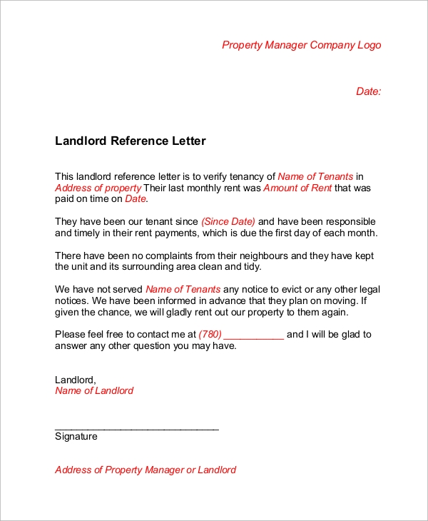 Sample Landlord Reference Letter   Examples In Word Pdf