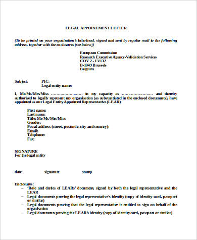 legal appointment letter format