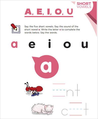 printable worksheet for preschool vowels
