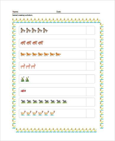 preschool animal counting worksheet