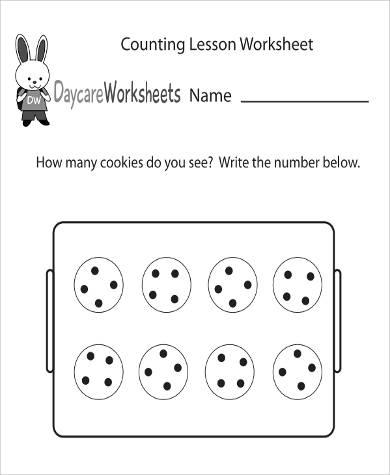 printable preschool daycare lesson worksheet