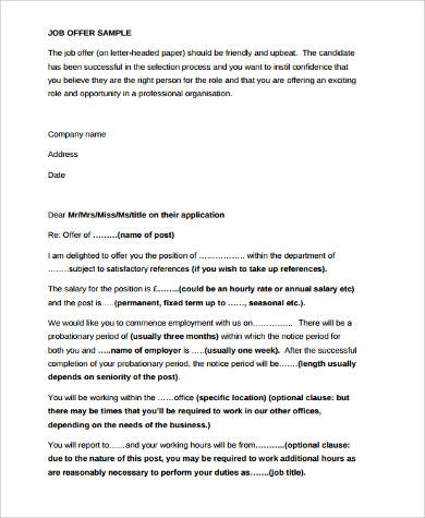 offer of employment cover letter