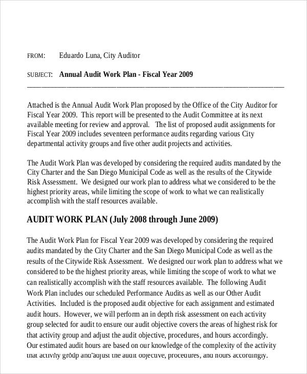 sample audit work plan