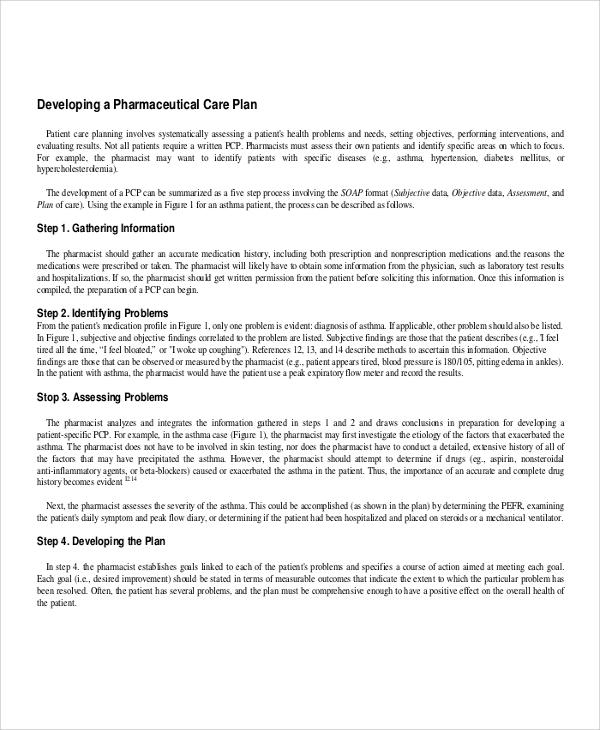 sample pharmaceutical care plan