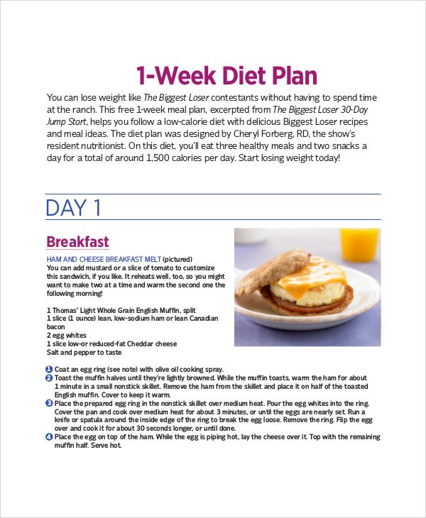 sample 1 week diet plan