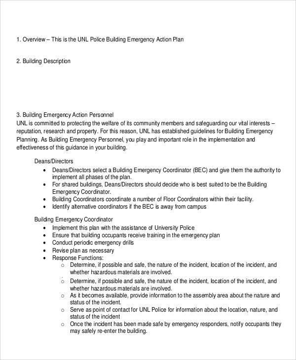 sample building emergency action plan