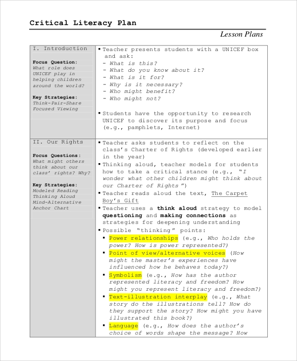 sample critical literacy lesson plan