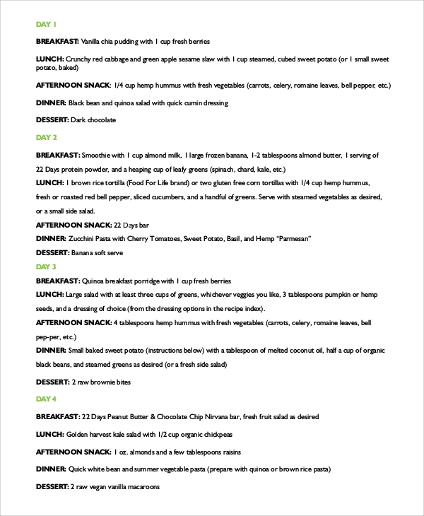 sample 22 day meal plan