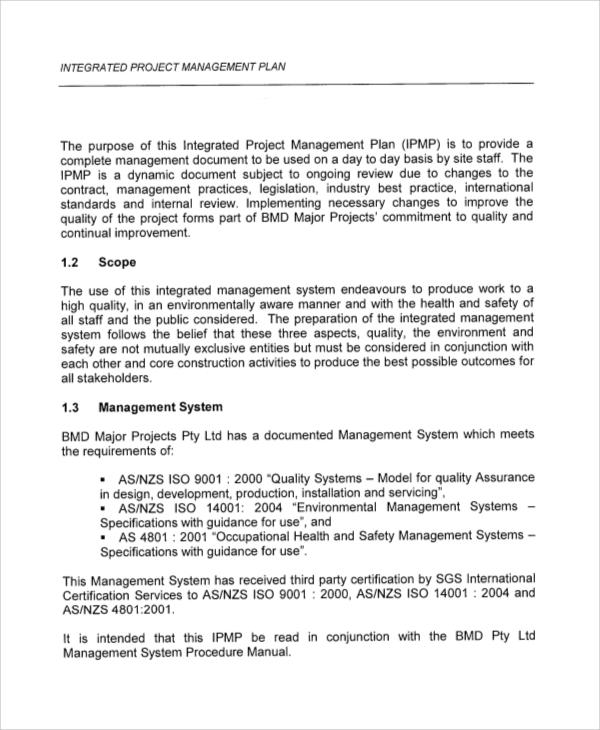 43 sample plans sample templates for Project integration management plan template
