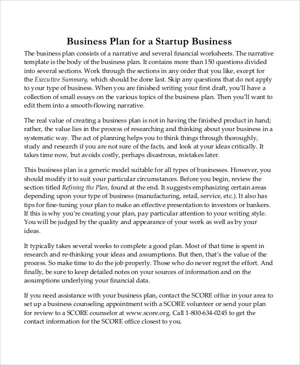 sample startup business plan