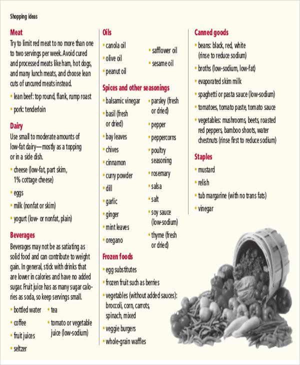 sample healthy weekly meal plan