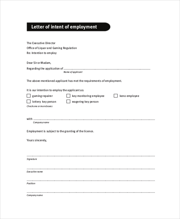 letter on intent sample letter of intent 47 examples in pdf word 23105 | Application Letter of intent of Employment
