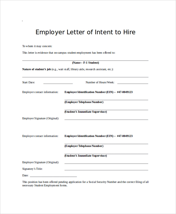 Employment application letter of intent