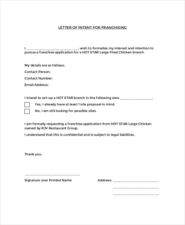 letter of intent for franchise application