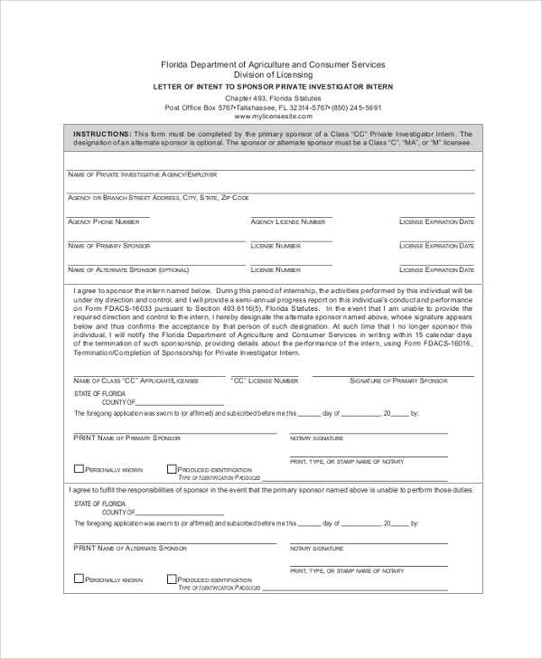 Sample Letter Of Intent   Examples In Pdf Word