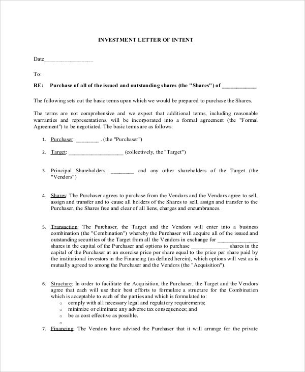Sample Letter of Intent 43 Examples in PDF Word – Letter of Intent to Sell Business Sample