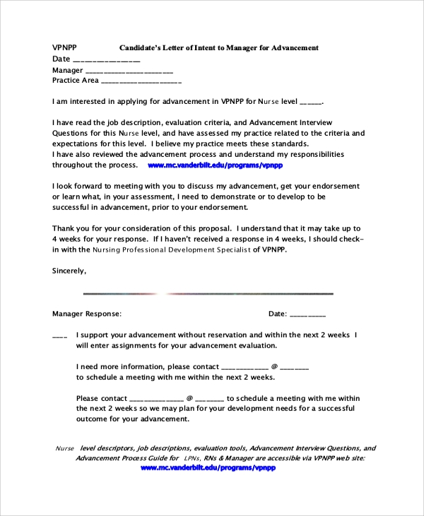 nursing candidate's letter of intent to manager for advancement