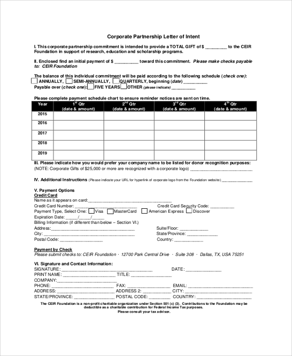 Sample Templates  Partnership Letter Of Intent