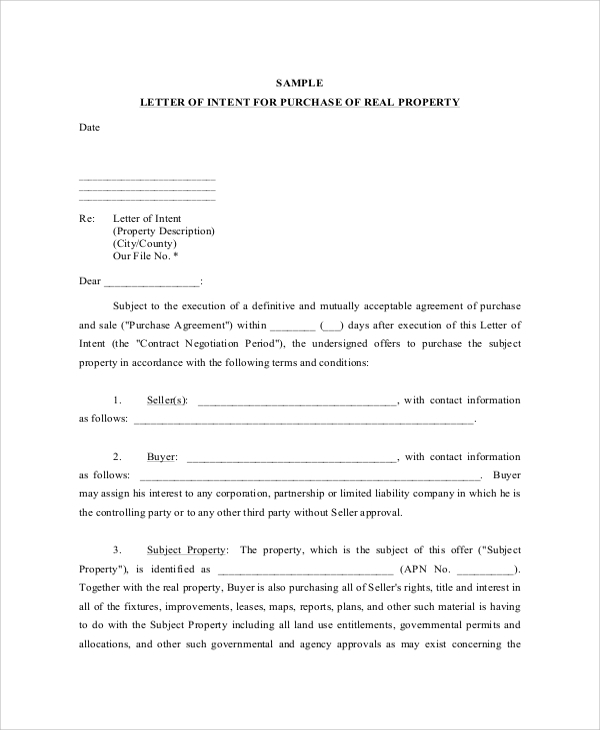 Sample Letter Of Intent To Purchase Land