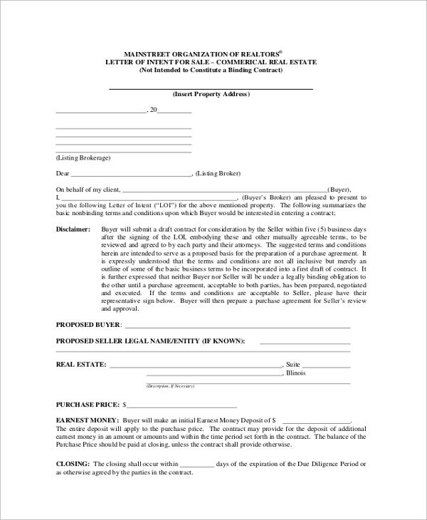 letter of intent for real estate purchase template - 43 letter of intent samples sample templates