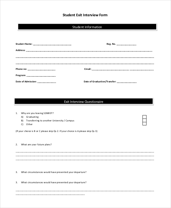 Sample Exit Interview Form 10 Examples in PDF Word – Exit Interview Form