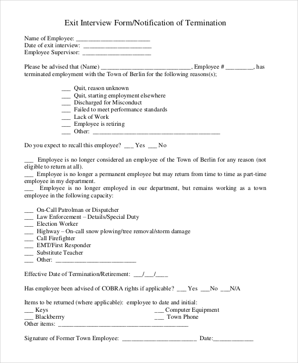 free 10  sample exit interview forms in pdf