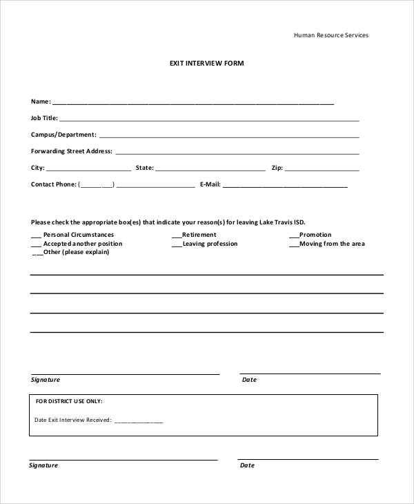 10 sample exit interview forms sample templates. Black Bedroom Furniture Sets. Home Design Ideas