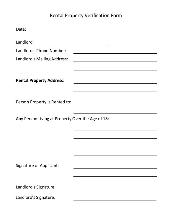 Rental Property Verification Form Sample  Landlord Employment Verification Form