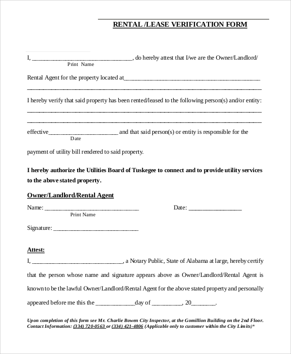 Rental Lease Verification Form