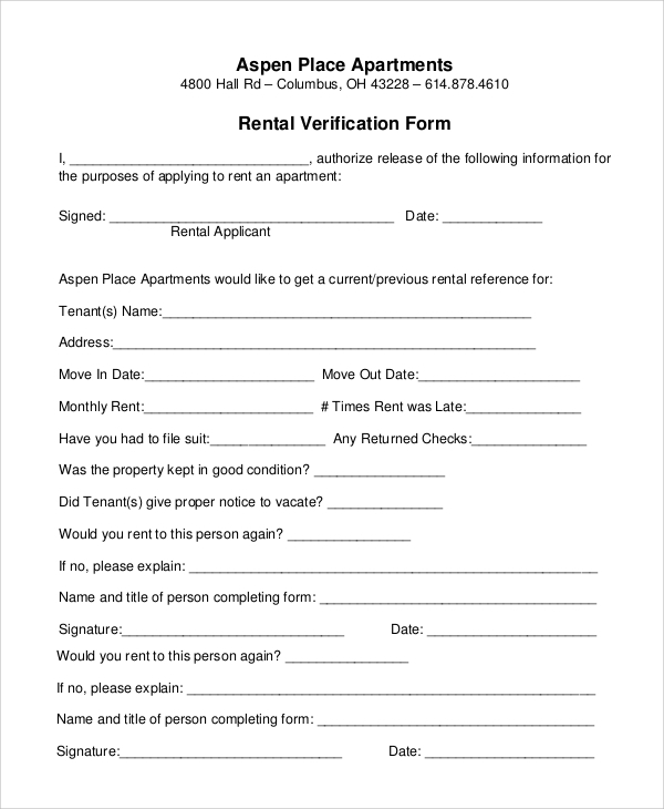 rent verification form Sample Rental Verification Form - 10  Examples in PDF, Word