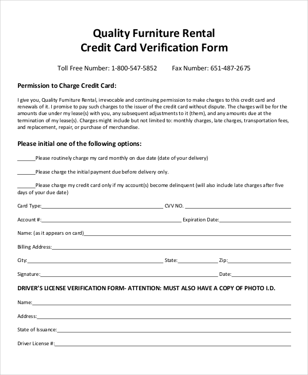 rental credit card verification form